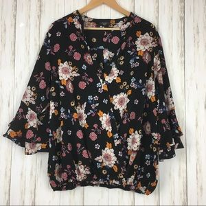 Cocomo Floral Wrap Bell Sleeve Blouse